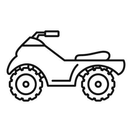 Long quad bike icon, outline style