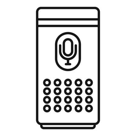 Smart speaker control icon, outline style Ilustração