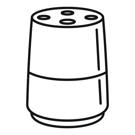 Audio smart speaker icon, outline style Çizim