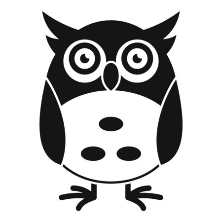 Funny face owl icon, simple style
