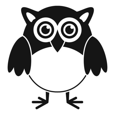 Big eyes owl icon, simple style Çizim