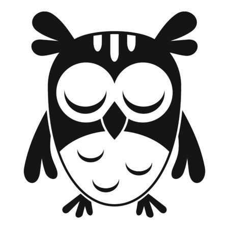 Sleeping owl icon, simple style  イラスト・ベクター素材