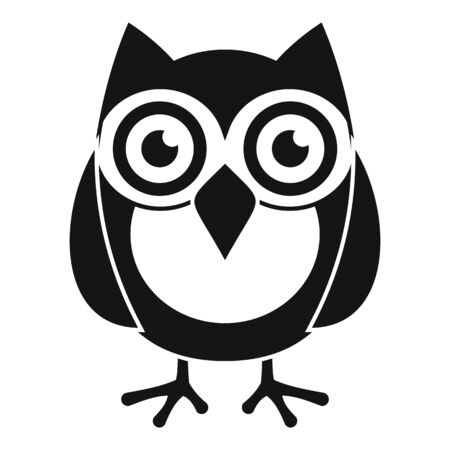 Smart owl icon, simple style 写真素材 - 129573478