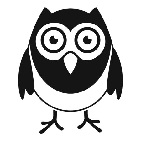 Wise owl icon, simple style
