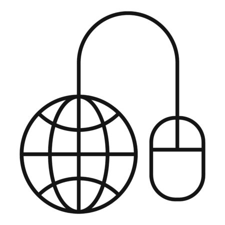 Global web banking icon, outline style Stock Illustratie