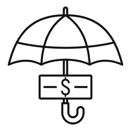 Protect money cash icon, outline style 일러스트