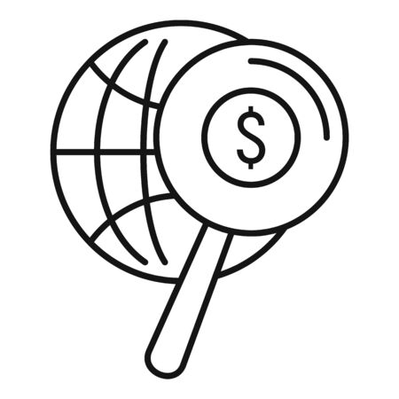 Search global money icon, outline style Stock Illustratie