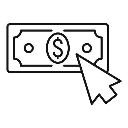 Web money click icon, outline style Stock Illustratie