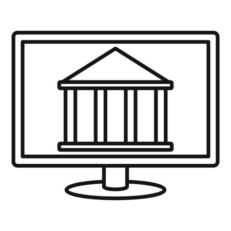 Internet bank building icon, outline style Stock Illustratie