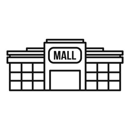 Small mall building icon, outline style