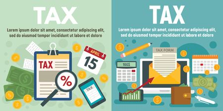 Tax banner set, flat style