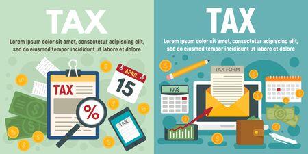 Tax banner set, flat style