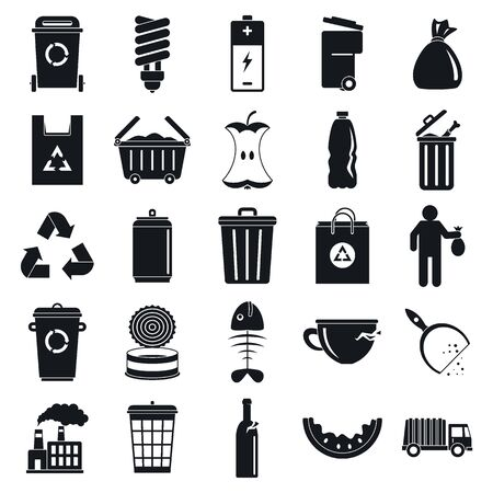 City garbage icons set, simple style  イラスト・ベクター素材