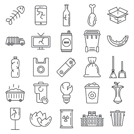 Garbage rubbish icons set, outline style  イラスト・ベクター素材