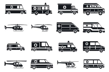 City ambulance icons set, simple style