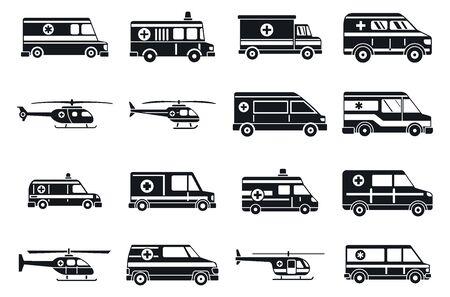 Ensemble d'icônes d'ambulance de la ville, style simple