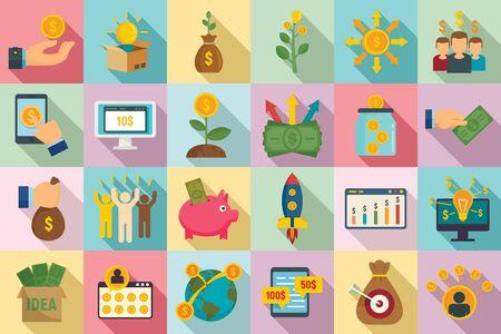 Crowdfunding icons set, flat style