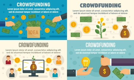 Crowdfunding invest banner set, flat style