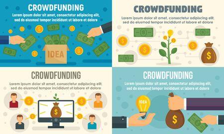 Crowdfunding invest banner set, flat style Ilustración de vector