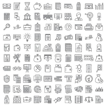 Ensemble d'icônes de comptable financier, style de contour