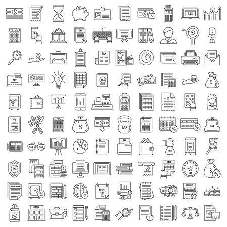 Set di icone di ragioniere finanziario, stile contorno