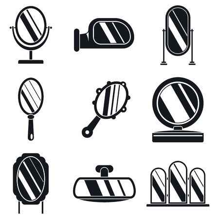 Hand mirror icons set, simple style Stock Illustratie