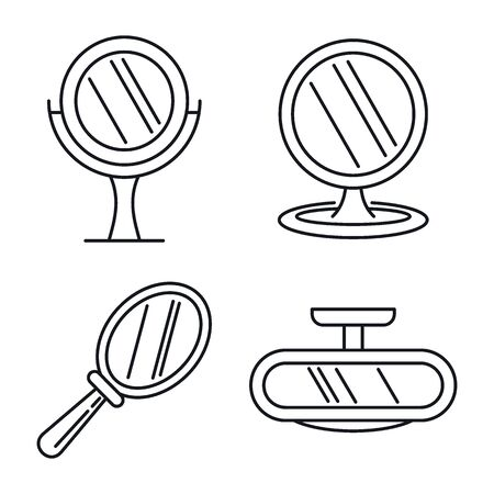 Beauty mirror icons set, outline style
