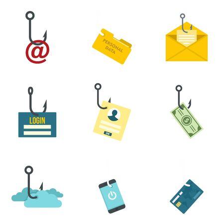 Phishing icon set. Flat set of phishing vector icons for web design 写真素材 - 129575435