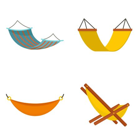 Hammock icon set. Flat set of hammock vector icons for web design