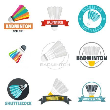 Shuttlecock logo set. Flat set of shuttlecock vector logo for web design