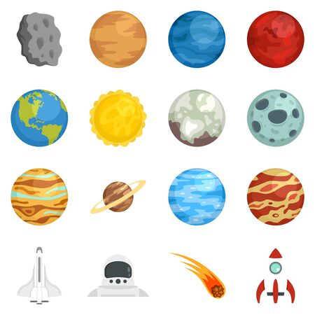 Planets icon set, flat style