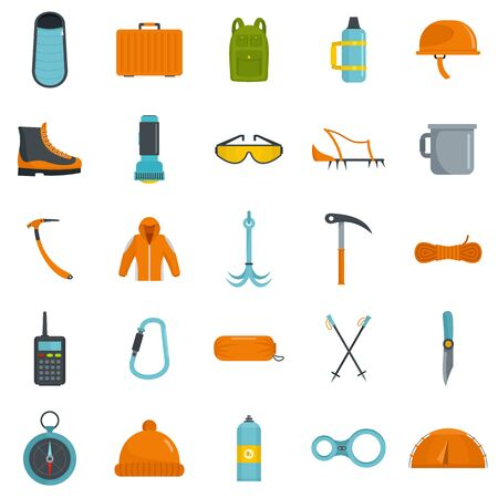Mountaineering equipment icons set, flat style Иллюстрация