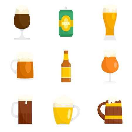 Beer bottles glass icons set, flat style