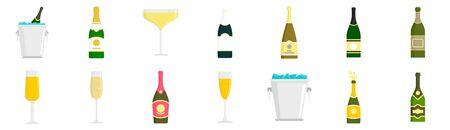 Champagne icon set, flat style