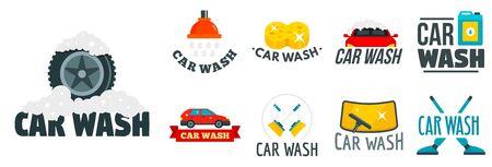 Car wash  set, flat style