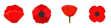 Poppy flowers icon set, flat style Çizim