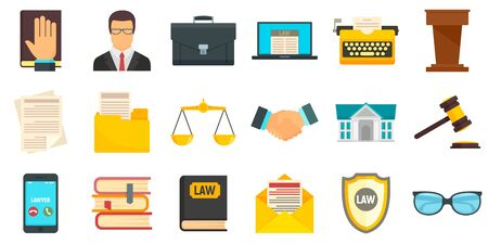 Lawyer icons set, flat style