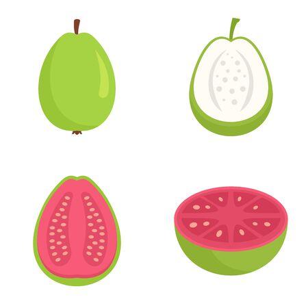Guava icons set, flat style 일러스트