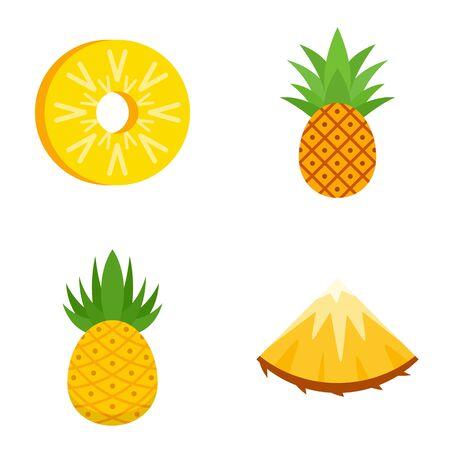 Pineapple icons set, flat style