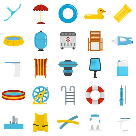 Pool equipment icon set, flat style Çizim