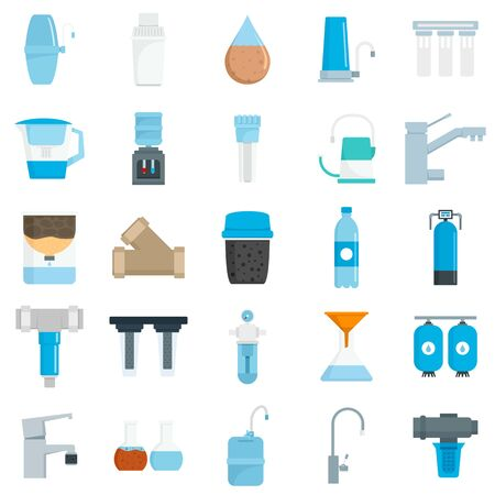 Filter water icon set, flat style Stock Illustratie