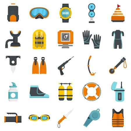 Snorkeling equipment icon set, flat style