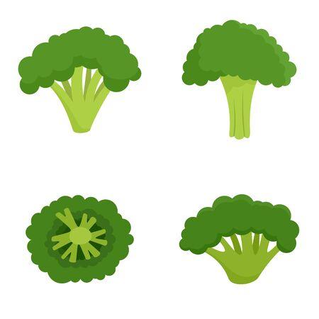Green broccoli icon set, flat style 일러스트
