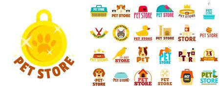 Pet store  set, flat style