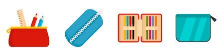 Pencil case icon set, flat style