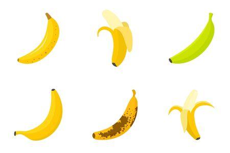 Banana icons set, flat style