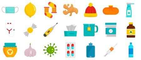 Flu sick icon set, flat style