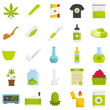 Cannabis icon set, flat style