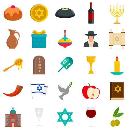 Happy hanukkah icon set, flat style Ilustracja