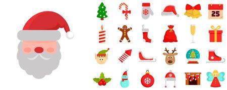 Christmas icon set, flat style  イラスト・ベクター素材
